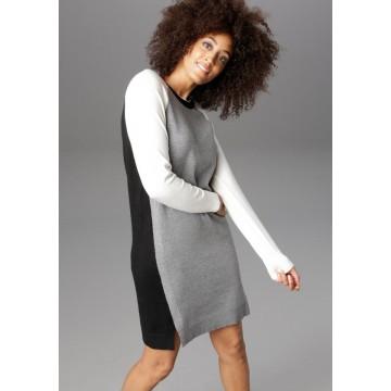 Aniston CASUAL Strickkleid in grau / schwarz / weiß