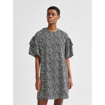 SELECTED FEMME Kleid 'Carla' in schwarz / weiß