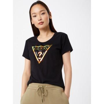 GUESS T-Shirt in gold / schwarz / weiß