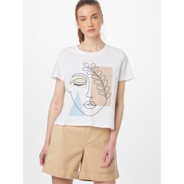 LTB T-Shirt 'JAPERA' in beige / rauchblau / hellbraun / schwarz / weiß