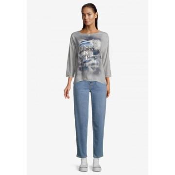 Betty & Co Casual-Shirt mit 3/4 Arm in blau / grau