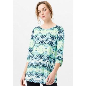 Green Cotton 3/4-Arm-Shirt Longshirt in blau